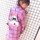 kids☻バックガールズプリントチェック柄ロング丈シャツ