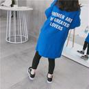 再再入荷☺︎kids兼用ok☆長袖バック英字デザインビッグTシャツ【ミニワンピ】ブルー