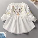 kids☻刺繍入りシャツチュニック【ホワイト】