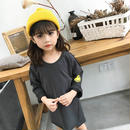 kids☻バック英字デザイン袖ニコちゃんワンピース【グレー】