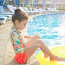 ☺︎kids【3点セット】花柄ラッシュガード+パンツ+キャップ☆ピンク