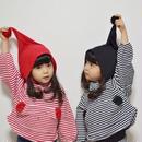 kids兼用ok☻フード&お腹ポケットデザインが可愛いボーダートップス【レッド・ブラック】
