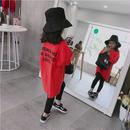 再再入荷☺︎kids兼用ok☆長袖バック英字デザインビッグTシャツ【ミニワンピ】レッド