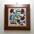 tile-a2 ★トルコ手描きの額入りタイル(トルコの国花カーネーションのデザイン)