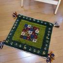 gz-alo14★ギャッベ(GABBEH)手織りのラグ 座布団(植物と動物のモチーフ/モザイクグリーン)