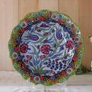 tkp30-3  ★繊細な手描きのトルコ・キュタフヤ陶器(プレート30cm)