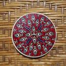 ★tpc-6  繊細なトルコ・プリント陶器コースター(ラーレレッド)
