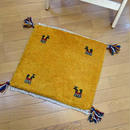 gz-alo10★ギャッベ(GABBEH)手織りのラグ 座布団(動物と植物のモチーフ/マスタード)