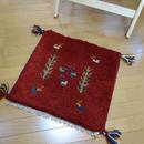 gz-alo6★ギャッベ(GABBEH)手織りのラグ 座布団(動物と植物のモチーフ/レッド)
