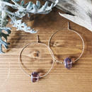 14KGF Smoky Amethyst Rock Hoop Earrings