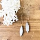 14KGF Gray Beige Shell Long Earrings
