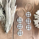 14KGF White Patterned Shell Hoop Earrings