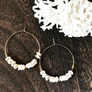 14KGF Puka Shell Boho Hoop Earrings L size