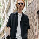 パイピングオープンカラーシャツ【ブラック】 L-18