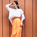 ORANGE FLARED TROUSERS