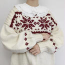 Euro Vintage Snow Pattern Volume Sleeve Hand Knit Sweater