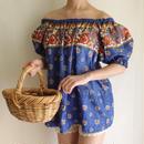 deepblue flower print  tunic