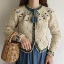 Ivory Flower Motif Ribbon Design knit Cardigan