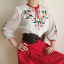eurovintage flower × cherry embroidery tunic