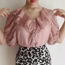 dasky pink see through heart buttun blouse