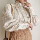 eurovintage stripe ×flower print volume sleeve blouse