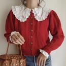 eurovintage double collar flower motif lace  blouse