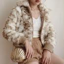 mix color fake fur volume short jacket
