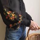 eurovintage see through flower embroidery volume blouse