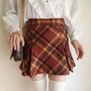 brown checked pleats mini skirt