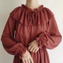 Euro Vintage Ruffle Collar Flare Dress