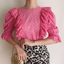 cherrypink cut work lace frill design blouse