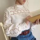60-70's euro vintage flower lace design blouse