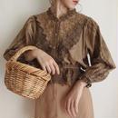 brown flower motif lace design blouse