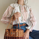 flower print lace × ribbon design blouse