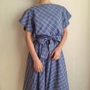 60-70's checked ribbon flare dress