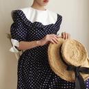 USA 80's round collar dot × ribbon design dress