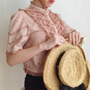 duskypink cut work lace design blouse