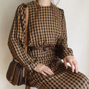 brown × black checked 2piece dress