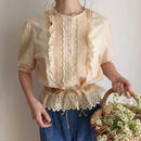 cut work lace frill blouse