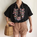eurovintage flower embroidery over silhouette tunic