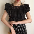 USA 80's black lace  design tunic