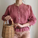 raspberry pink cut work lace frill blouse