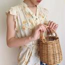 flower print  frill design blouse