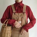 Euro Vintage  Stand Collar Sheer Ribbon Blouse