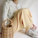 Euro  Vintage Pastel Yellow cotton knit long skirt