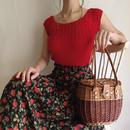 80's rose printed flare skirt