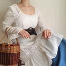 crochet lace design shirring dress