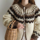 Euro Vintage Ivory × Brown Nordic Knit Cardigan