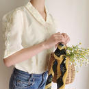 pale yellow flower embroidery blouse