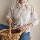 cotton cut work round collar blouse
